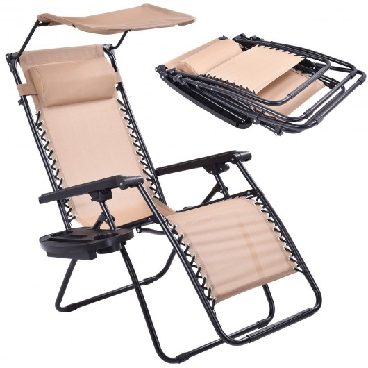 Beige Folding Recliner Zero Gravity Lounge Chair