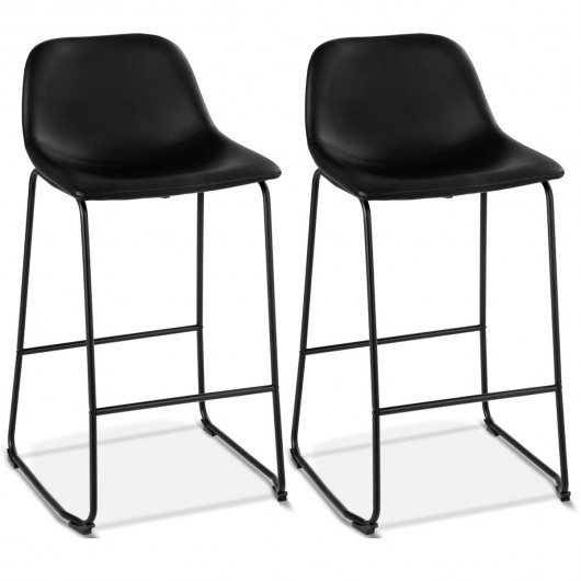 2 Set PU Leather Pub Barstools Side Chairs With Backrest