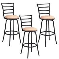 Deals on Set of 3 Steel Frame Counter Height Modern Swivel Bar Stools