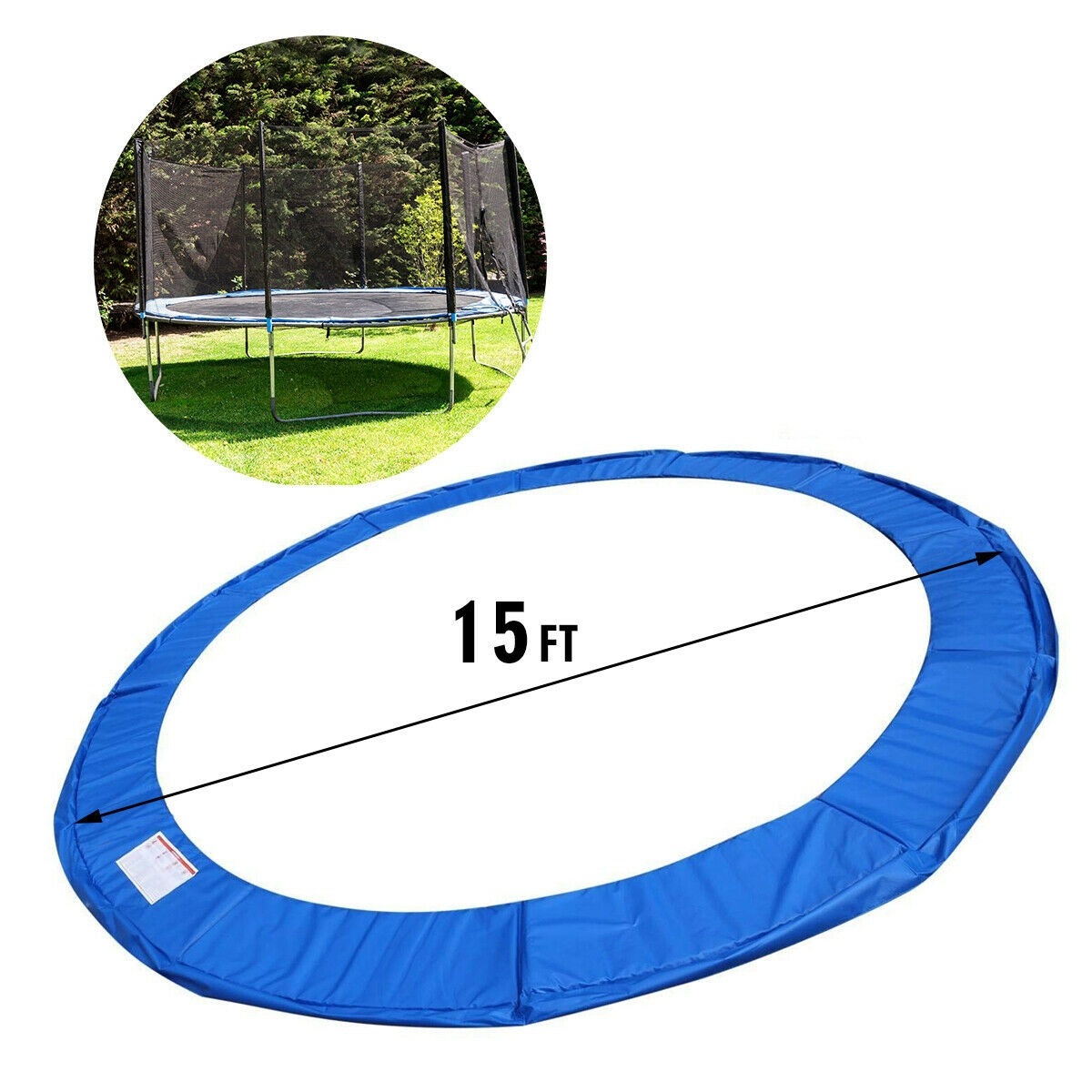 Blue Safety Round Spring Pad Replacement Cover for 15' Trampoline