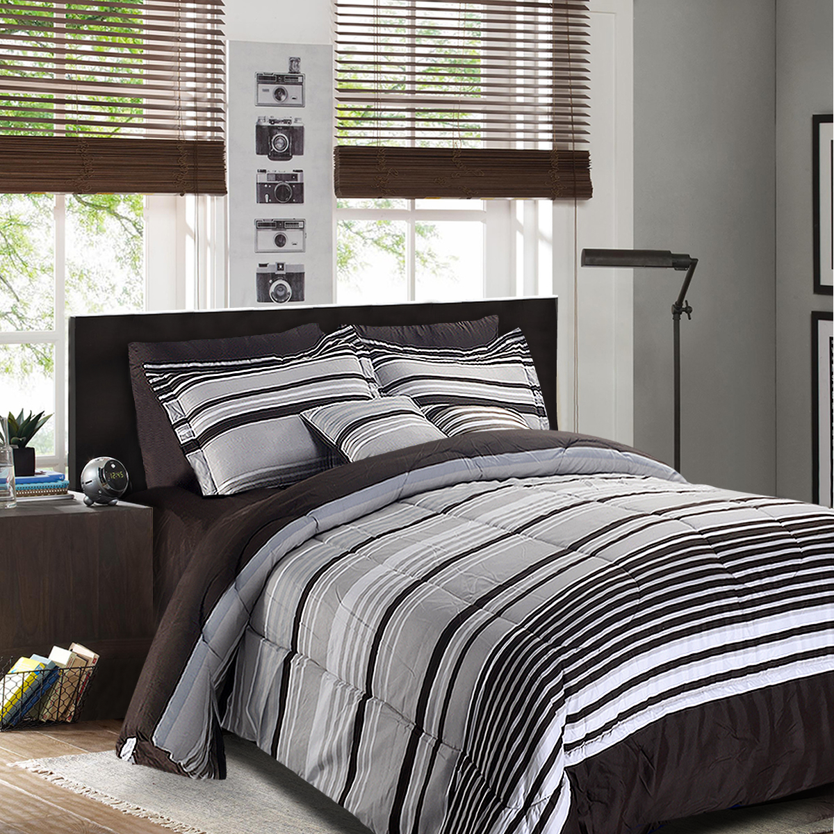 Luxury Striped Pattern 8+2 Piece Comforter Set Full Size, Queen Size, King Size-queen size