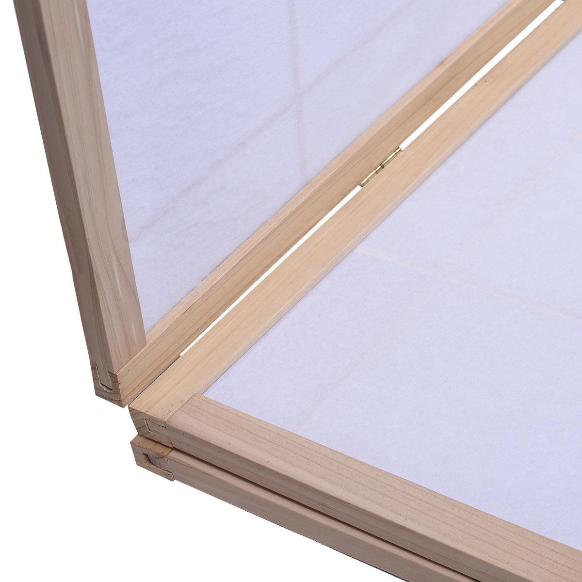 3 Panels Printing Flower Solid Wood Room Screen-Natrual