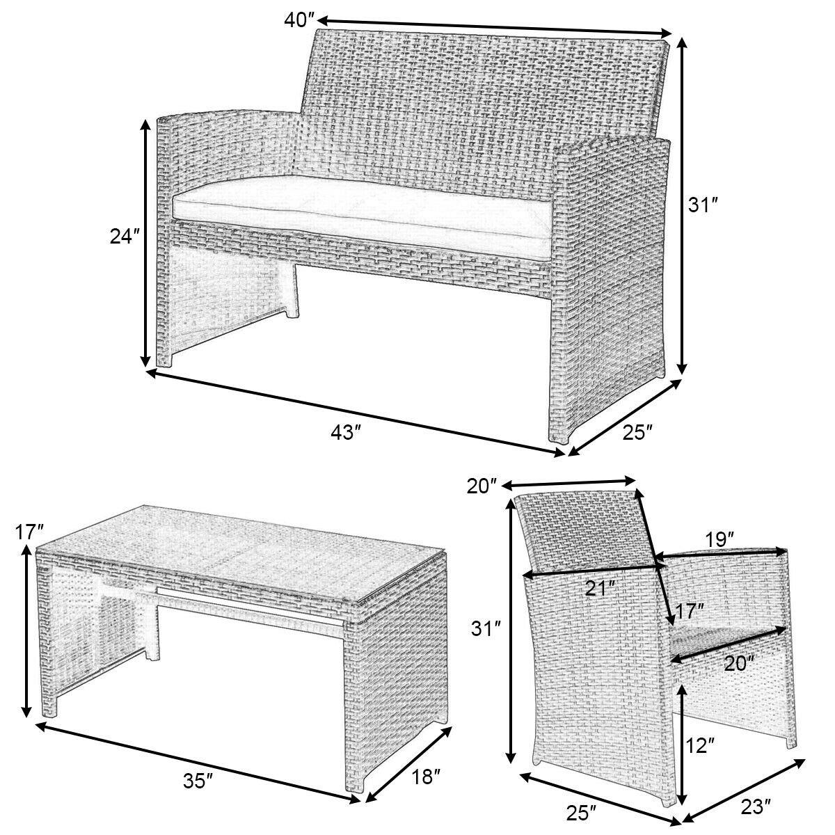 4 pcs Patio Garden Wicker Rattan Cushioned Sofa Set