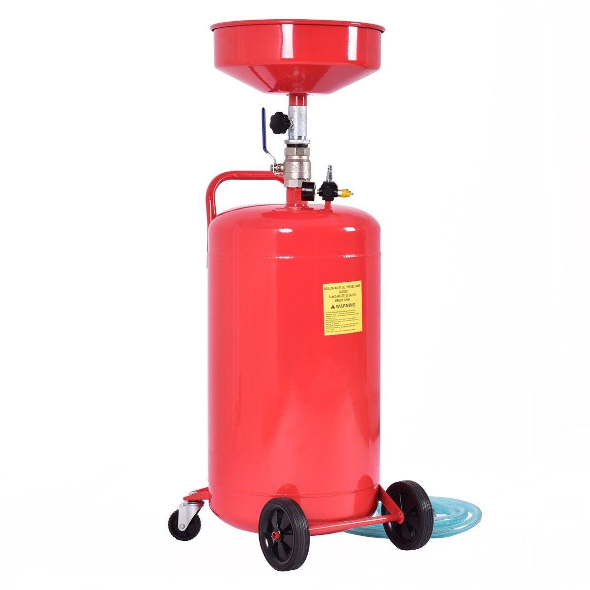 20 Gallon Waste Oil Drain Capacity Tank Air Operate Drainer Portable Wheel Hose