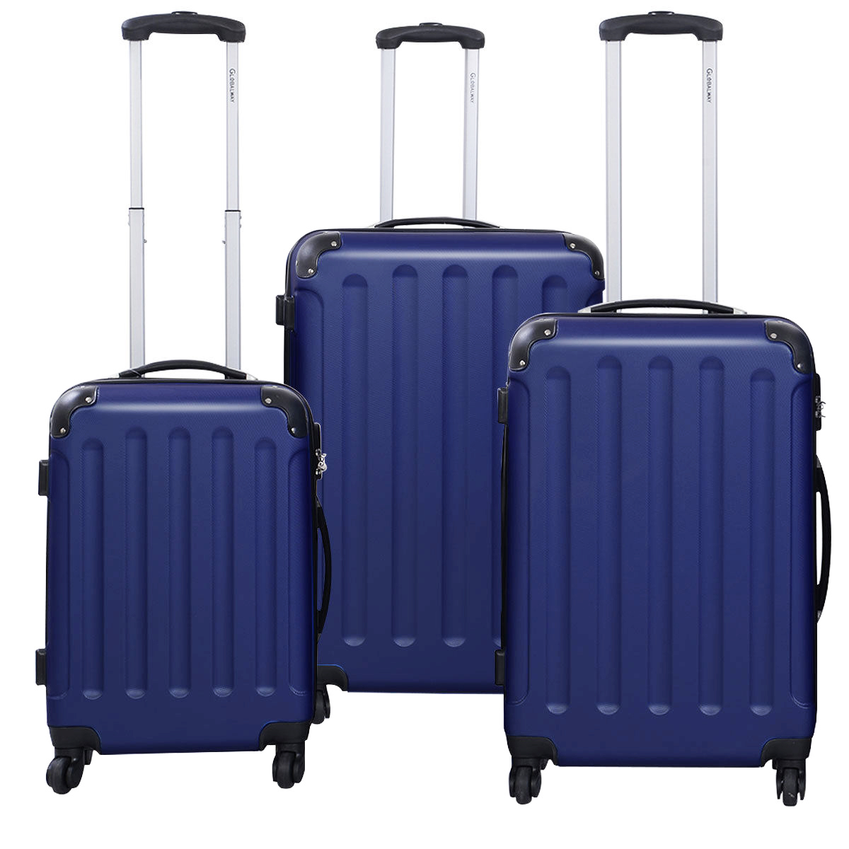 Globalway Luggage ABS+PC Trolley Suitcase Travel Set, Blue - 3 Pcs