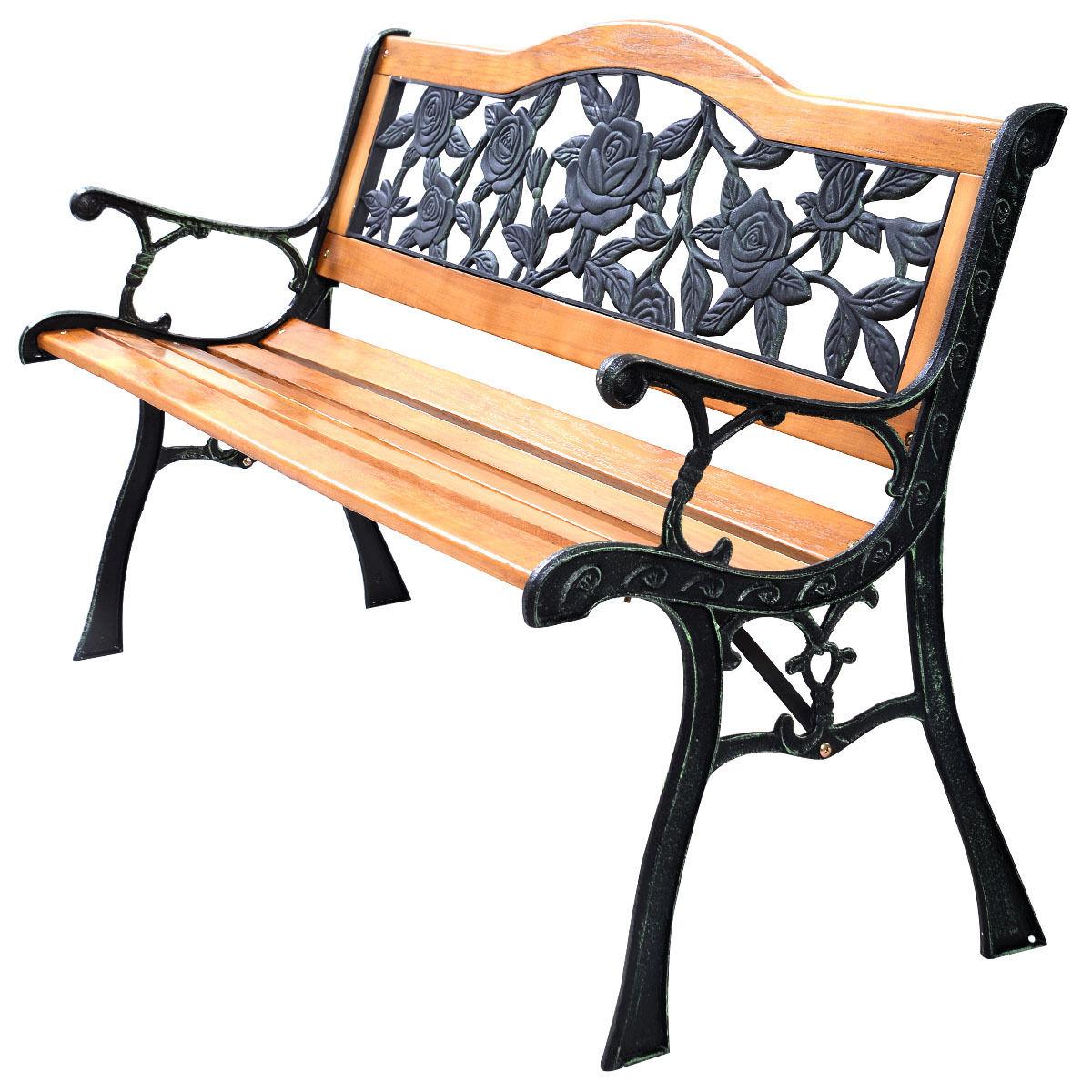 Park Garden Iron Hardwood Furniture Bench Porch Path Chair