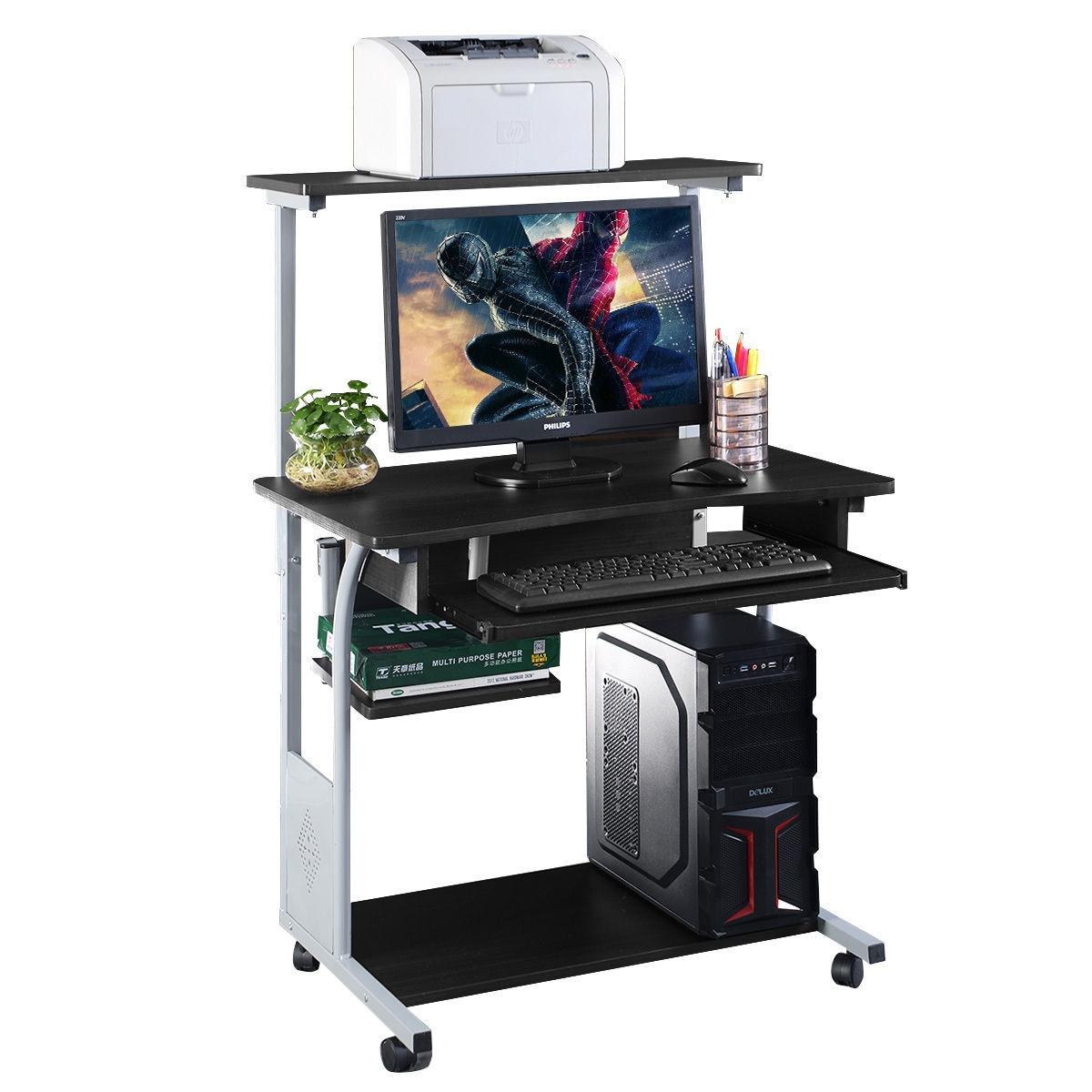 Rolling Computer Desk with Printer Shelf