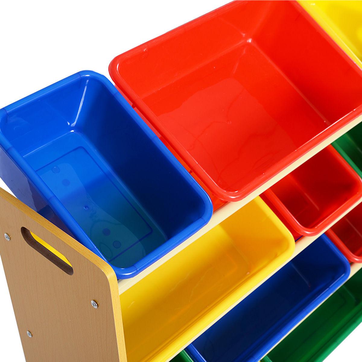 Kid's Toy Storage Organizer with 12 Colorful Plastic Box