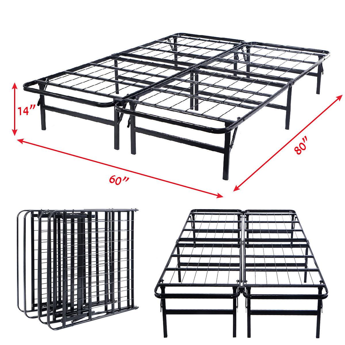 Queen Size Foldable Platform Metal Bed Frame