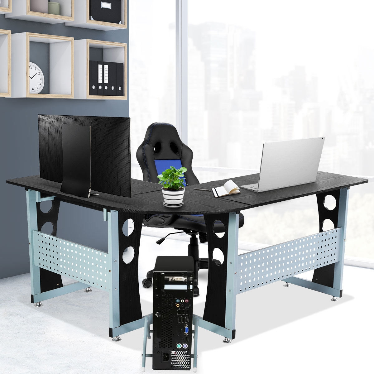 Wood L-Shape Corner Computer Desk