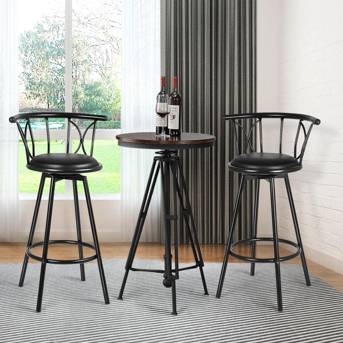Set of 2 Swivel Bar stools Rotatable Chairs