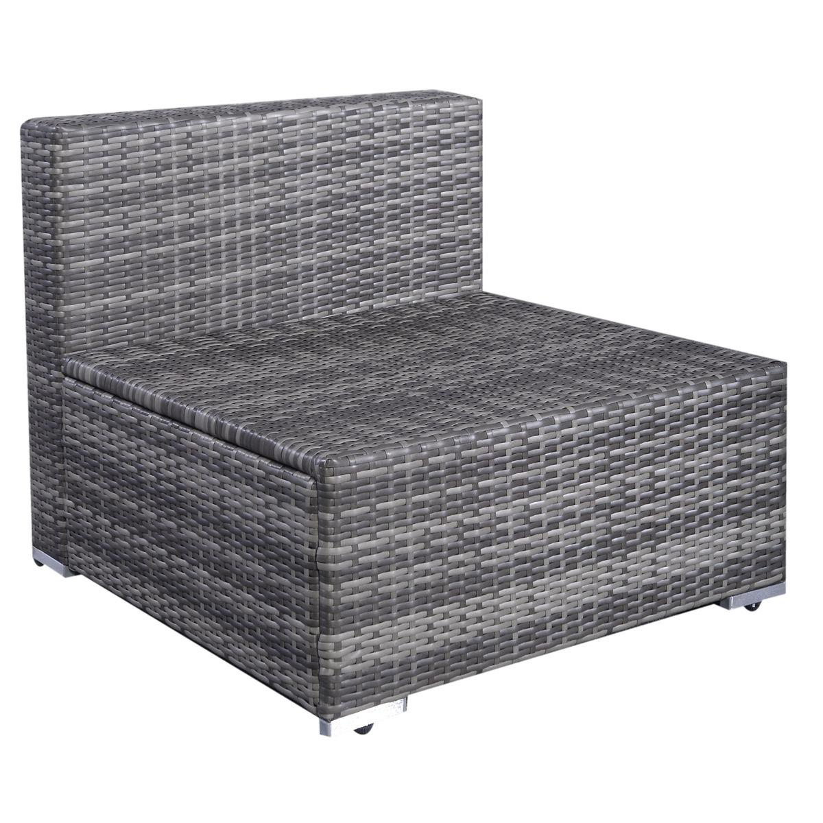 6 pcs Rattan Cushioned Sofa with Ottoman