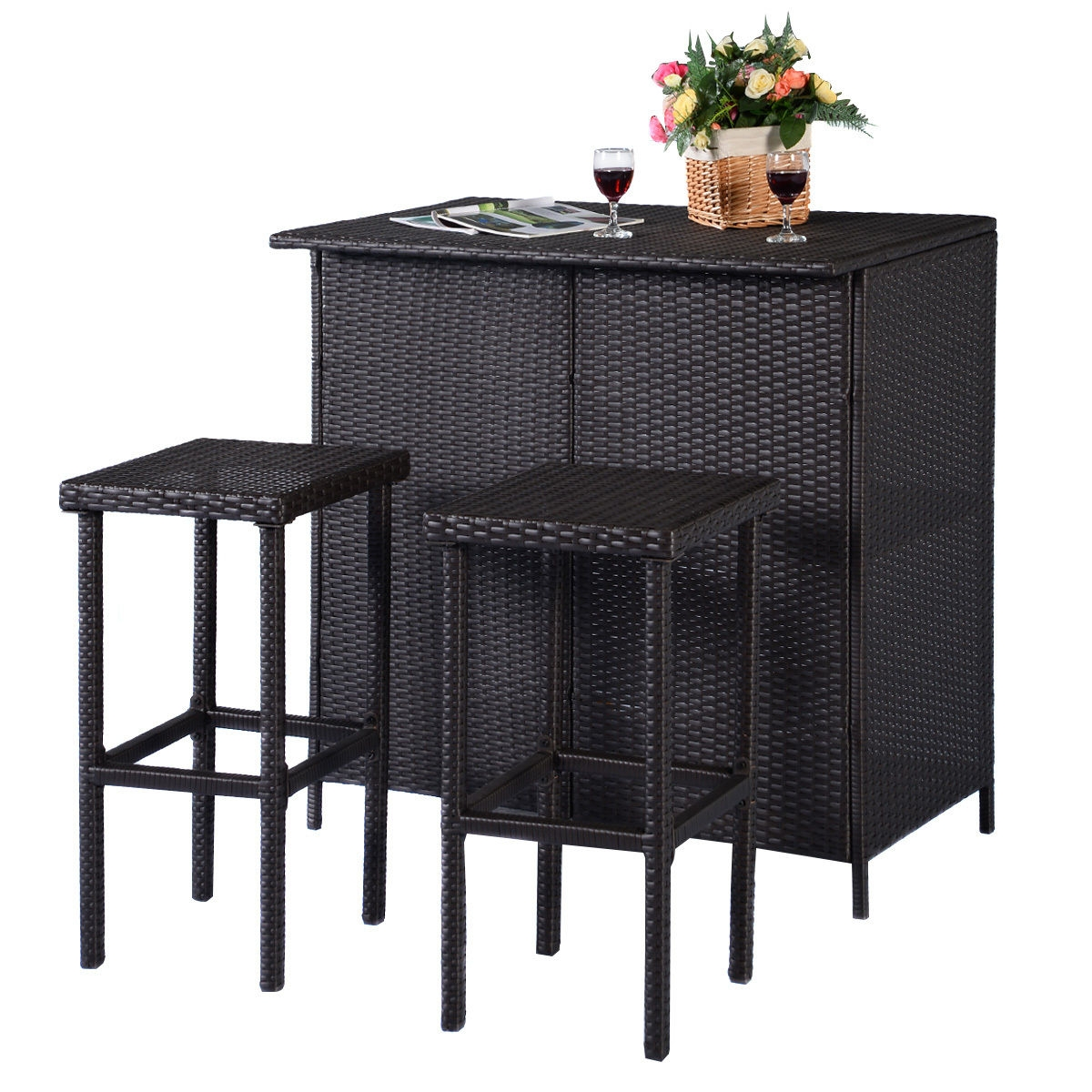 3 pcs Patio Outdoor Rattan Wicker Bar Table and 2 Stools