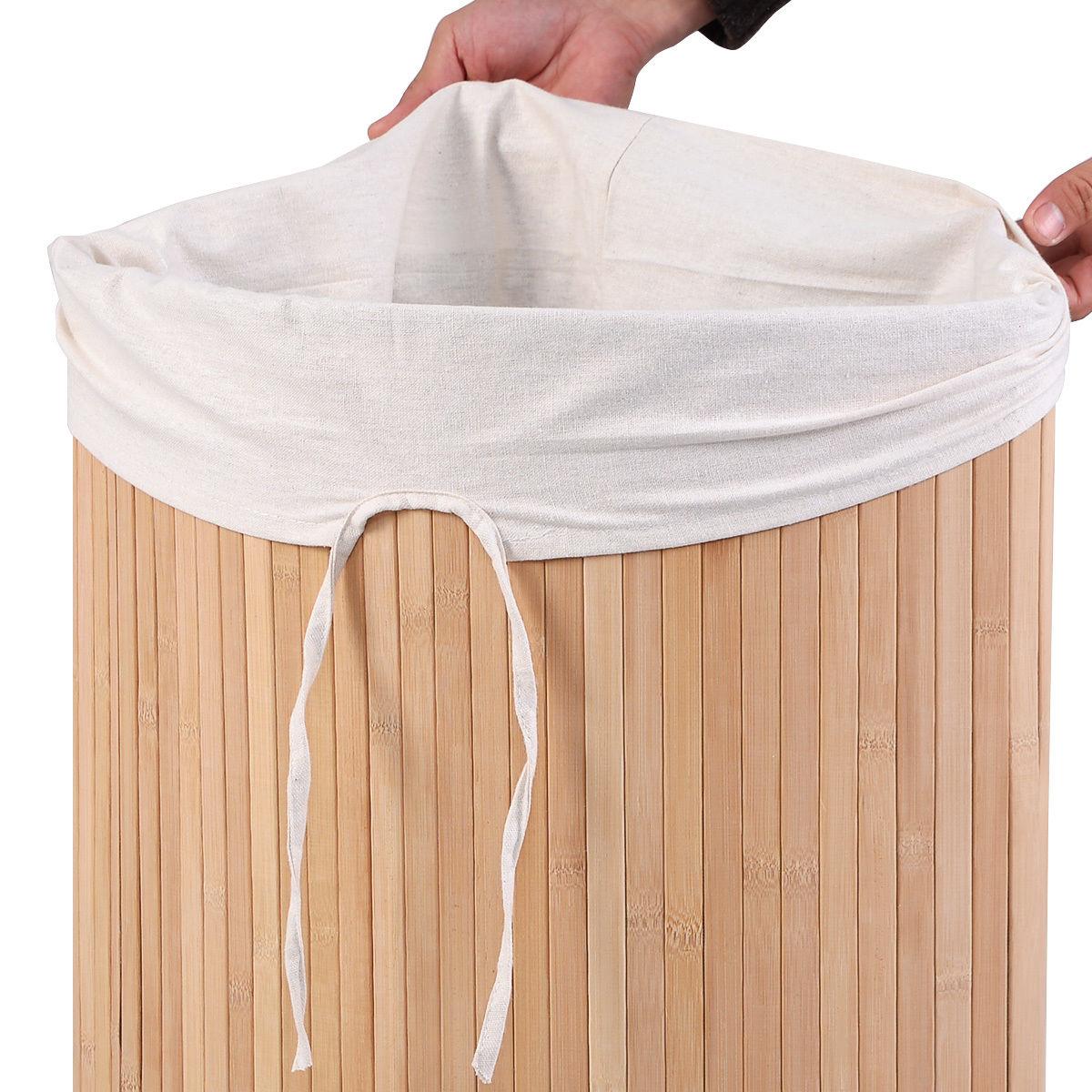 Corner Bamboo Hamper Laundry Basket