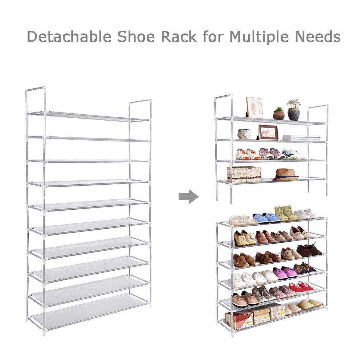50 Pair 10 Tiers Shoe Rack Shelf Storage Organizer