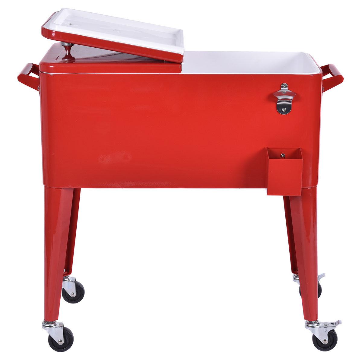 Red Portable Outdoor Patio Cooler Cart