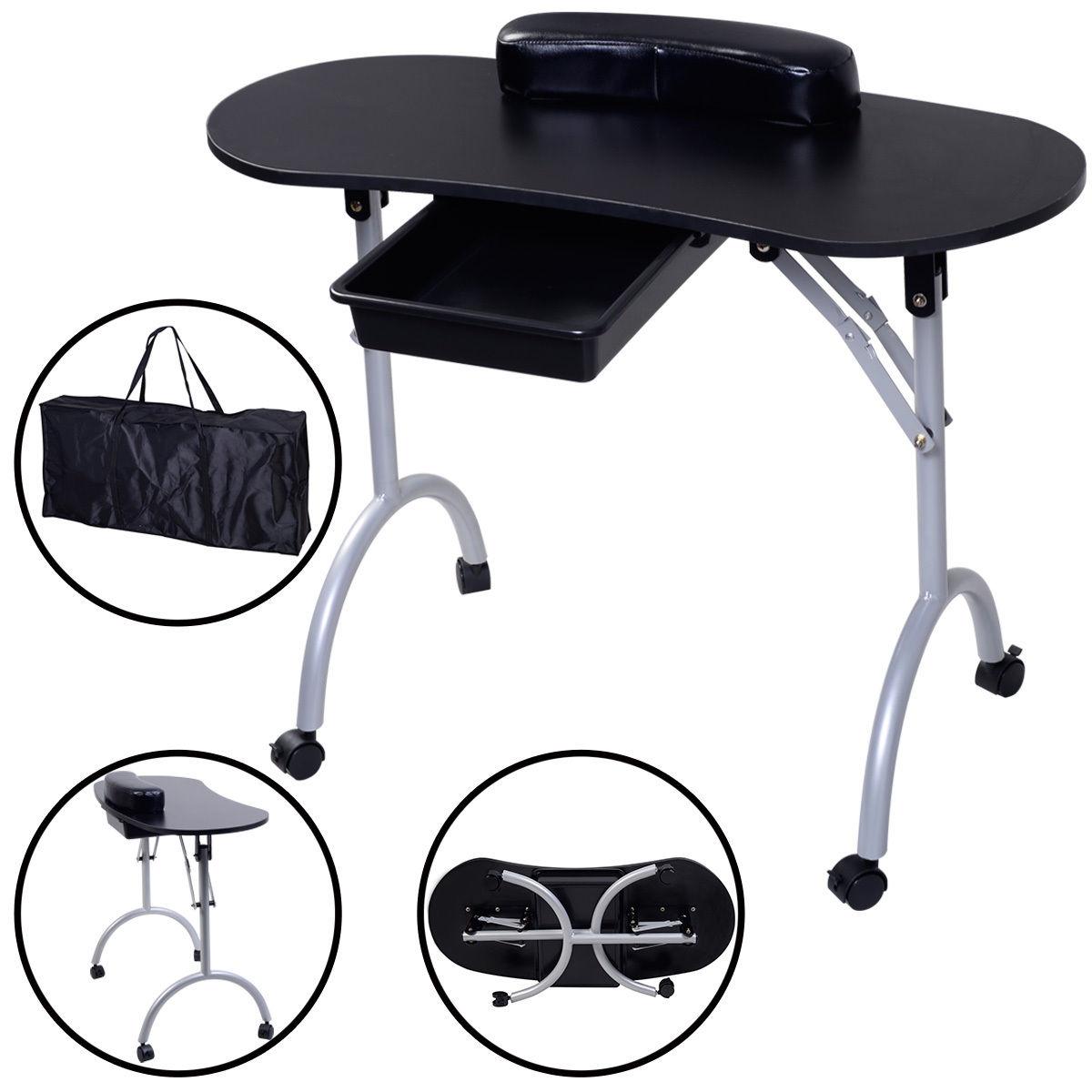 Portable Manicure Nail Table Station Desk Spa Beauty Salon Equipment 2 color-Black