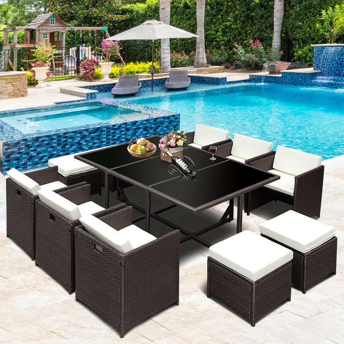 11 pcs Wicker Rattan Patio Outdoor Dinning Cushion Seat