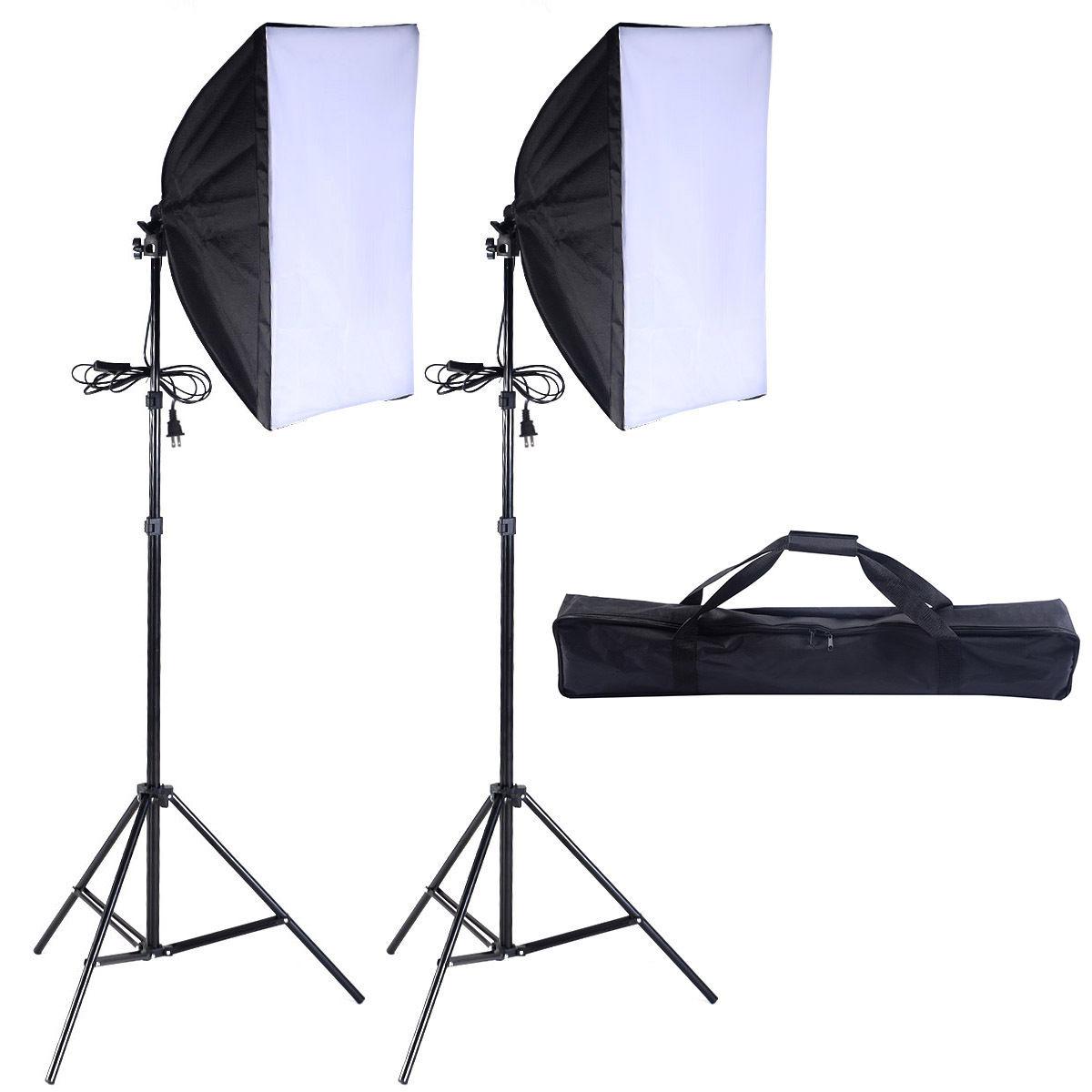 2 PCS Lighting Softbox Stand Photography Equipment Light Kit