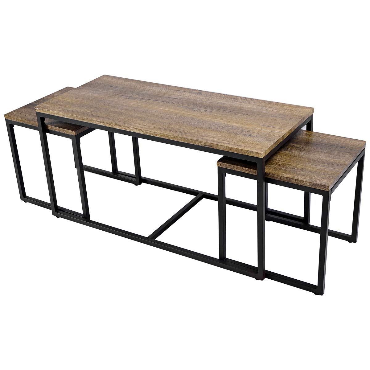 3 Pieces Wood Coffee End Table Set