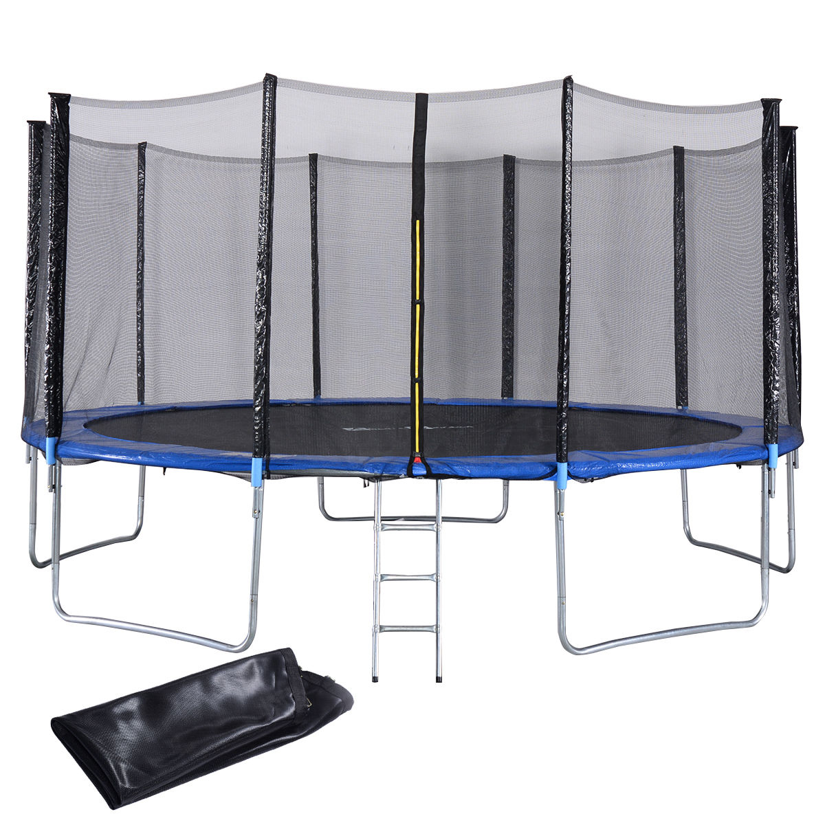 15 ft Trampoline Combo w/ Safety Enclosure Net, Spring Pad, Ladder & Rain Cover