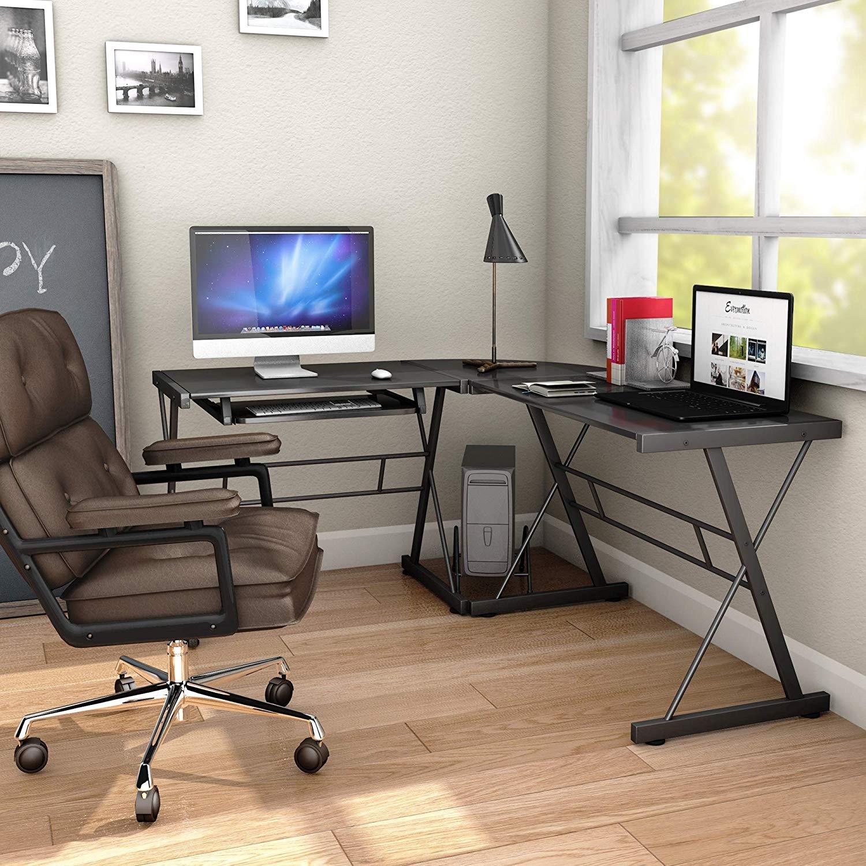 L-Shape Black Wood Computer Desk