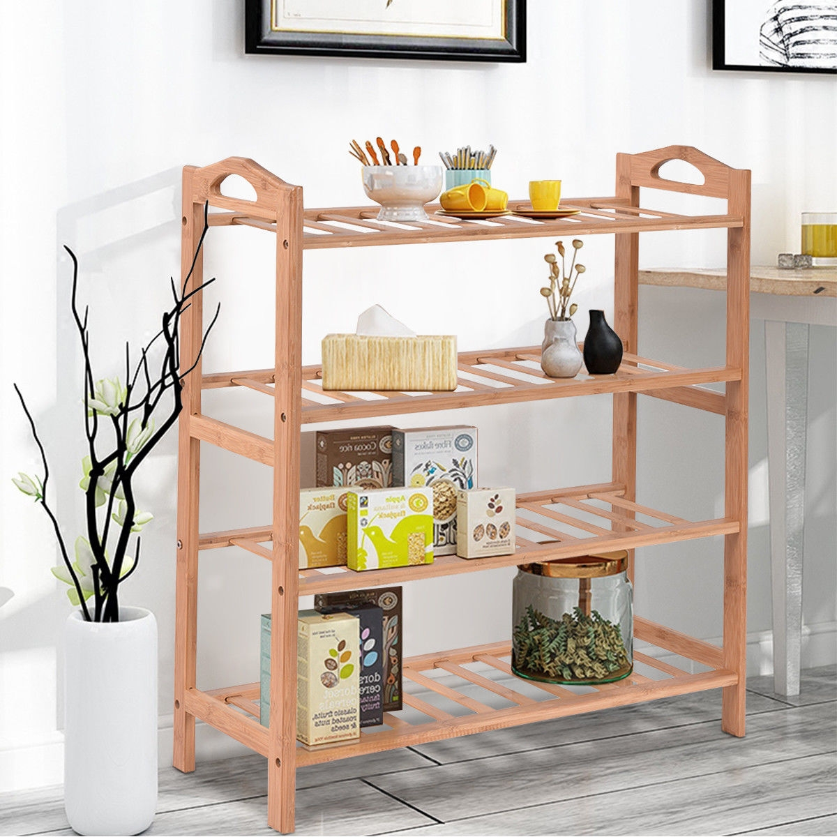 4 Tier Bamboo Shoe Shelf Storage Organizer