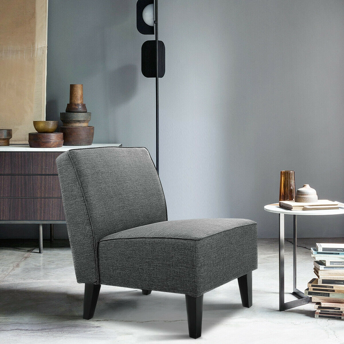 Contemporary Decor Solid Armless Accent Chair-Gray