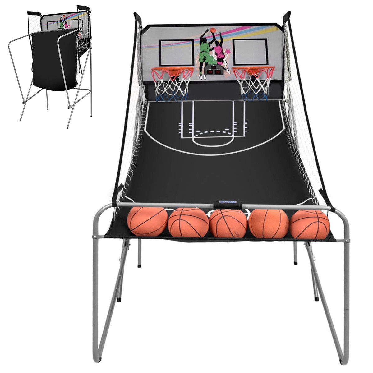 Indoor Double Electronic Basketball Game with 4 Balls