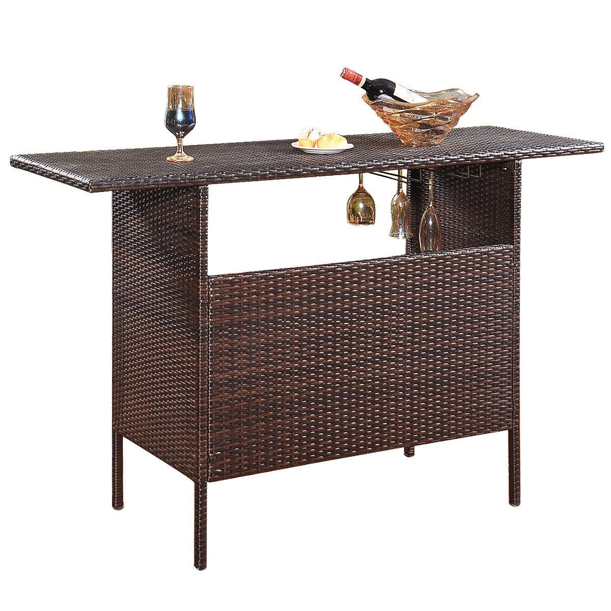 Outdoor Patio Rattan Bar Counter Table