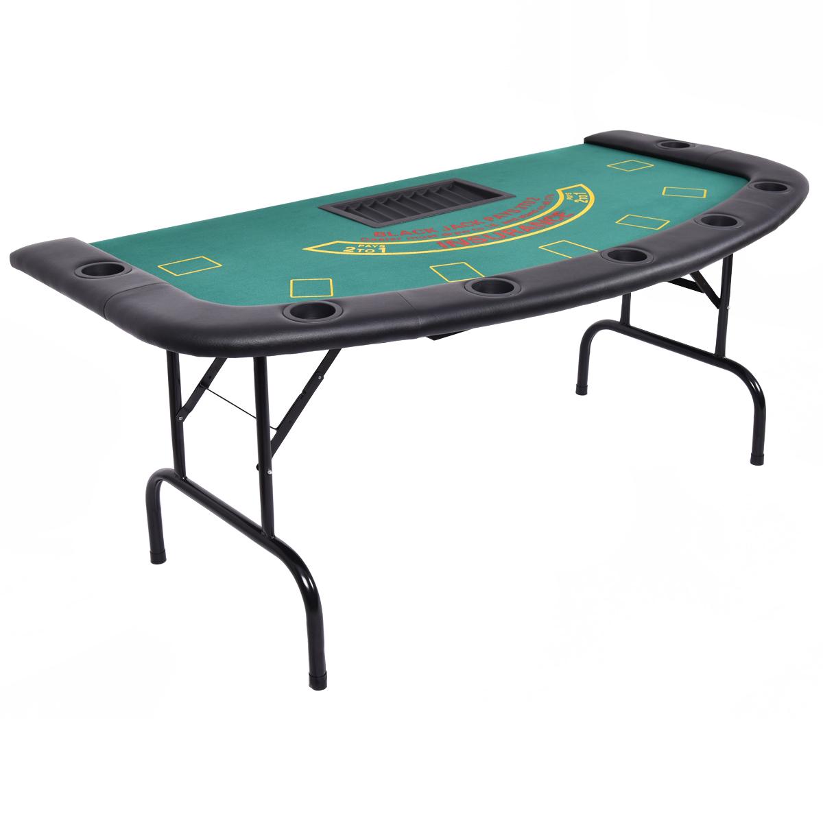7 Players Texas Holdem Foldable Poker Table