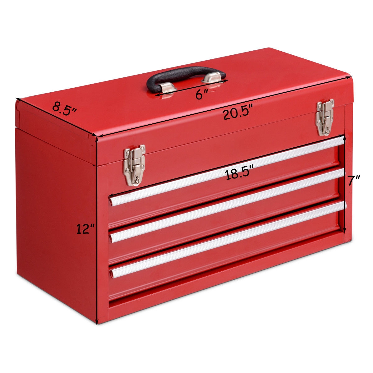Portable Garage Mechanic Tool Cabinet Box with 3 Drawers