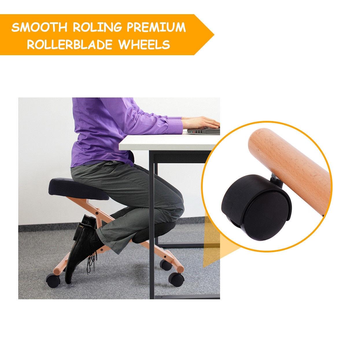 Ergonomic Kneeling Chair Wooden Adjustable Mobile Padded Seat and Knee-Black