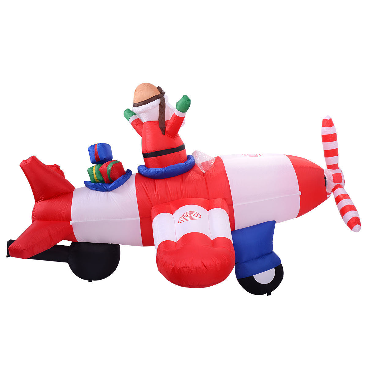 8 ft Inflatable Christmas Xmas Santa Claus on Airplane Decoration