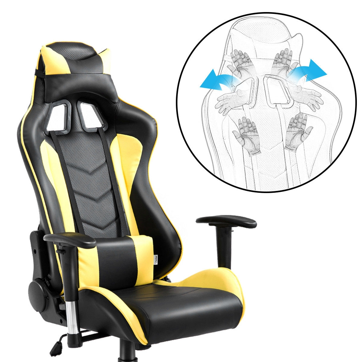 High Back Executive Racing Reclining Gaming Chair Swivel PU Leather Office Chair