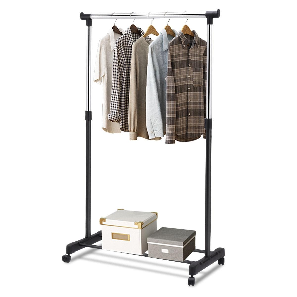 Adjustable Rolling Garment Rack Clothes Hanger