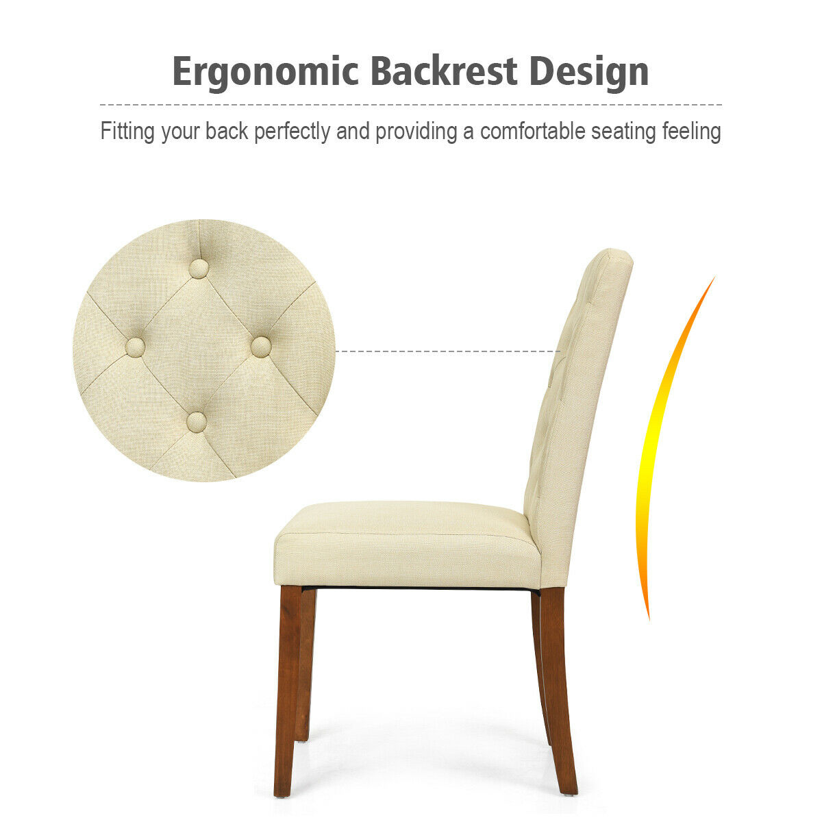 Set of 2 Fabric Wood Accent Dining Chair Tufted Modern Living Room Furniture-beige
