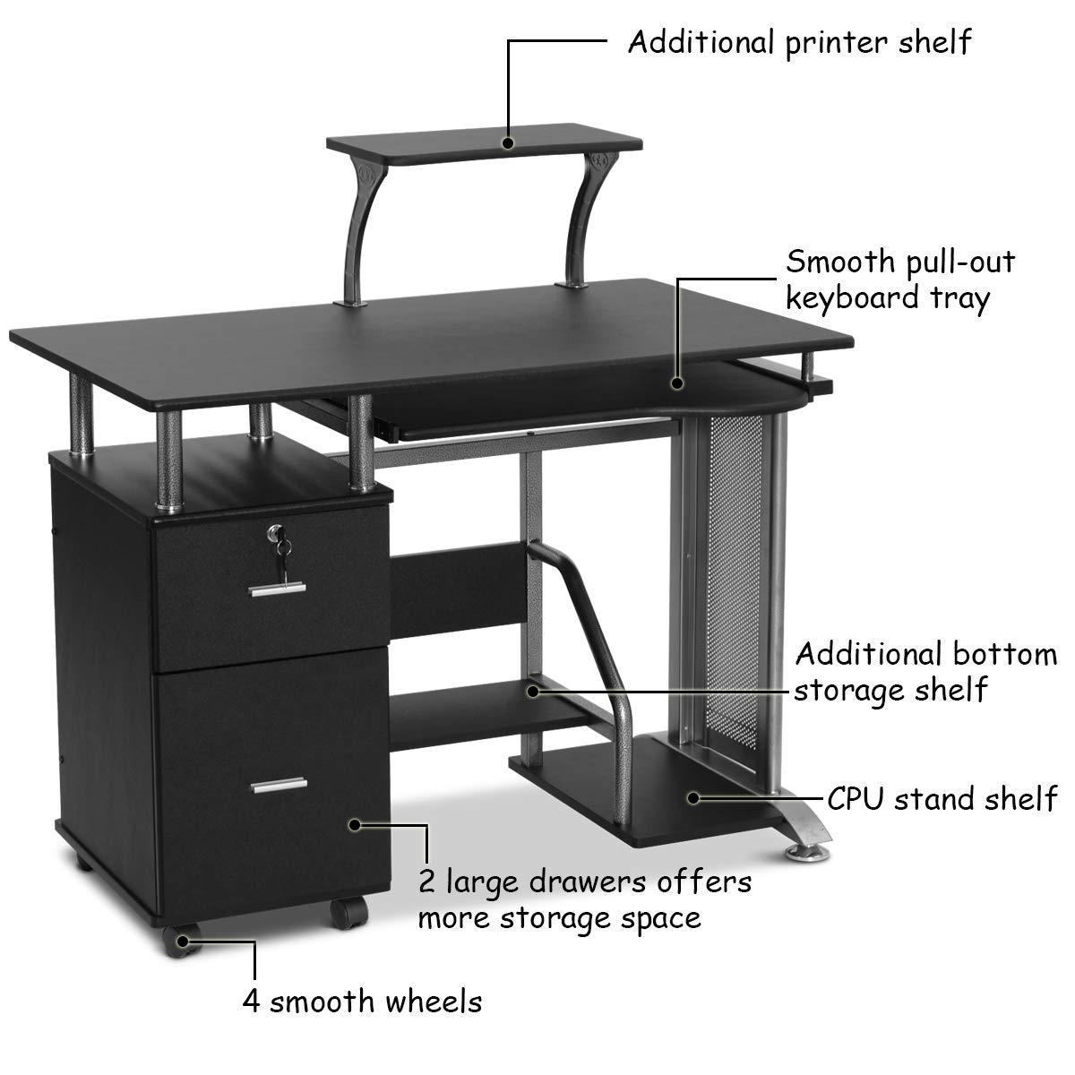 Black Computer Desk with Printer Shelf