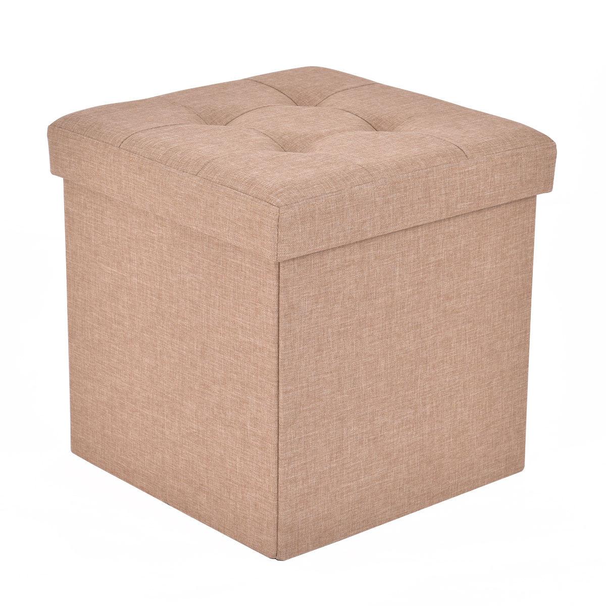 Cube Folding Ottoman Storage Seat - Beige