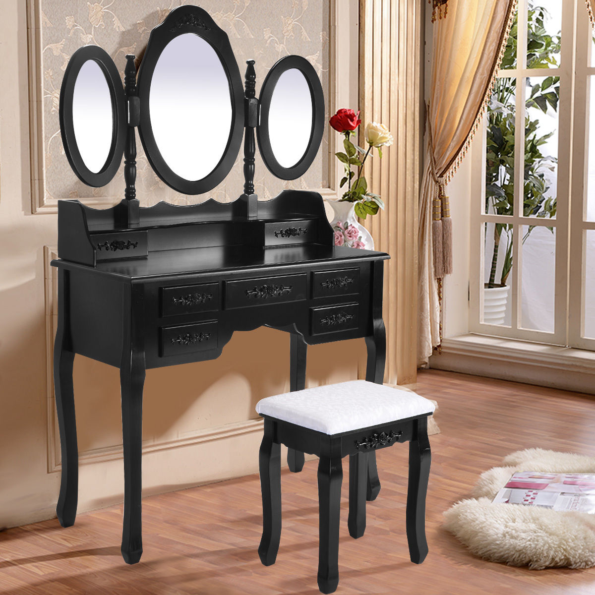 Black / White Vanity Makeup Dressing Table w/ Tri Folding Mirror + 7 Drawers