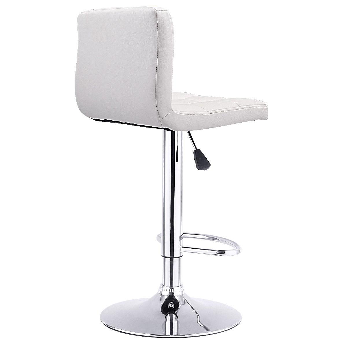 1 PC Bar Stool Swivel Adjustable PU Leather Barstools Bistro Pub Chair