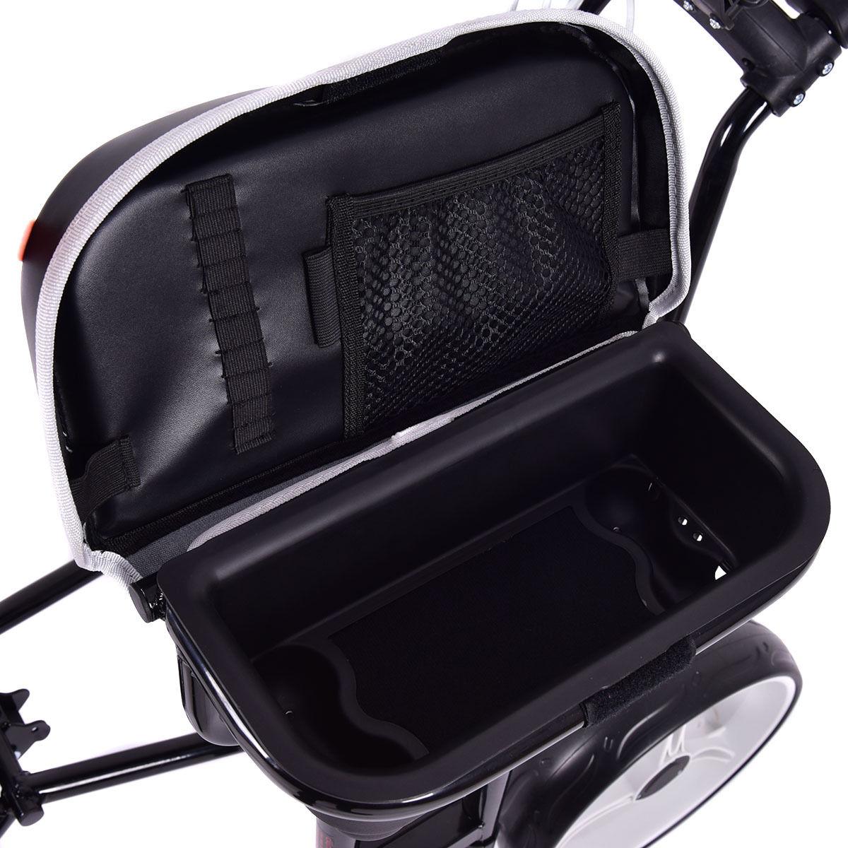 Foldable 3 Wheels Push Pull Golf Club Cart Trolley w/ Stool