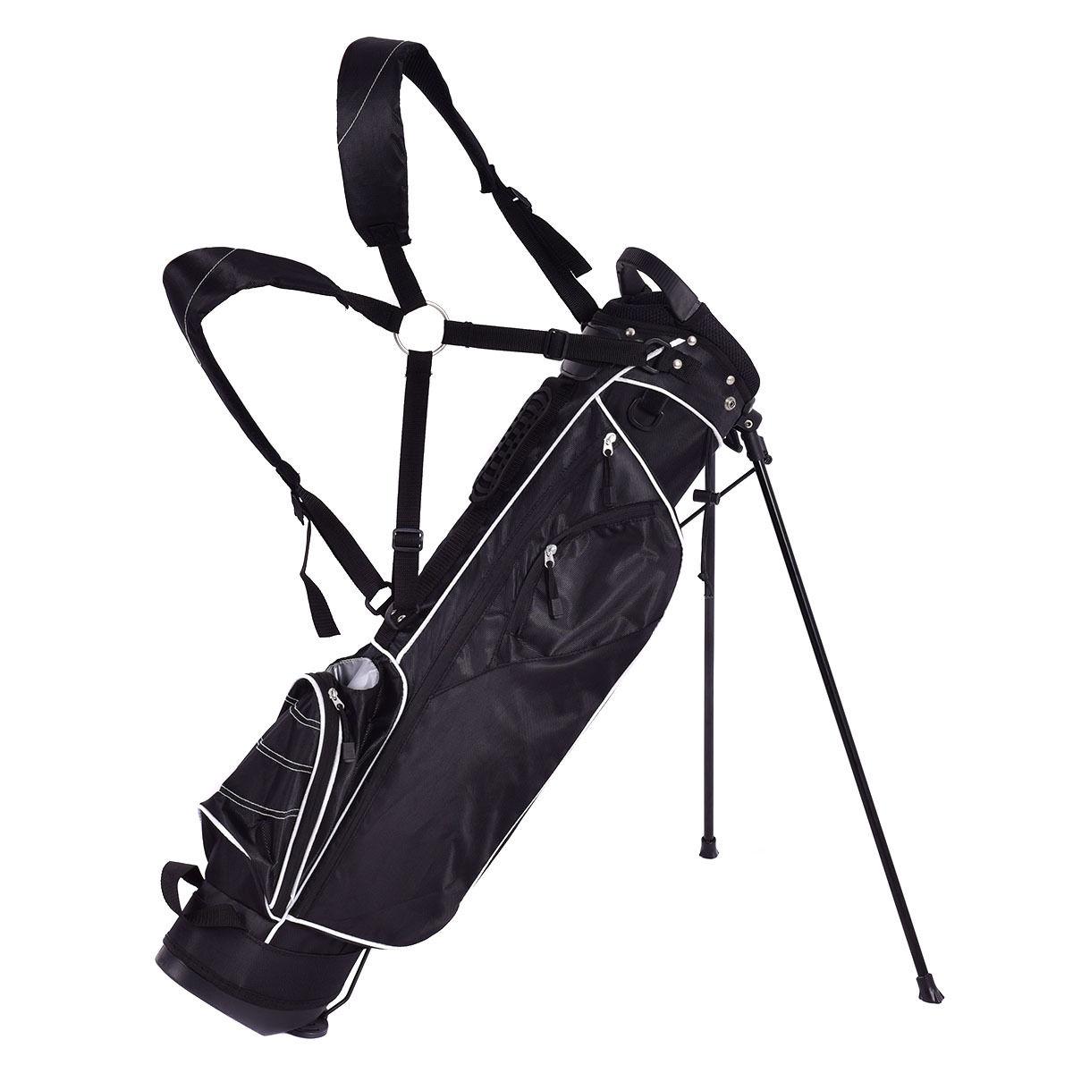 Golf Stand Cart Bag w/ 4 Way Divider Carry Organizer Pockets-Black