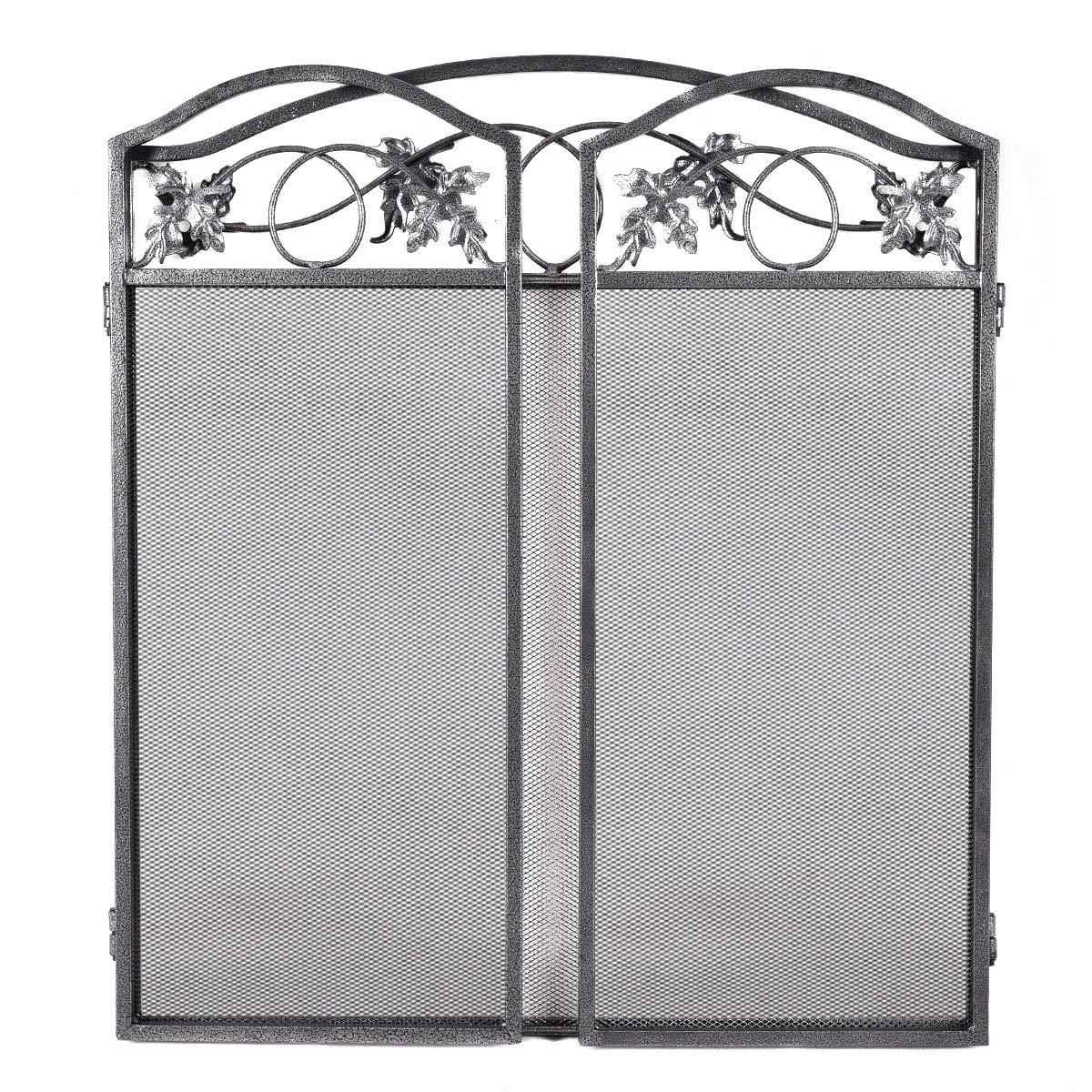 3 Panel Folding Steel Fireplace Screen Doors
