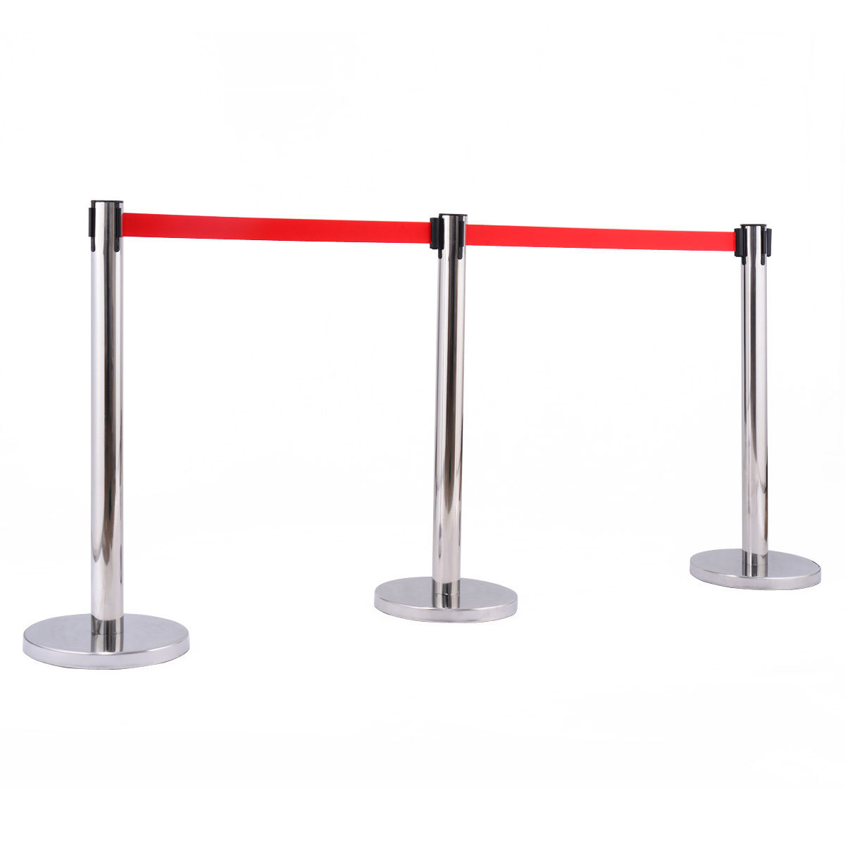 6 pcs Stanchion Posts Queue Belt Crowd Control Barrier