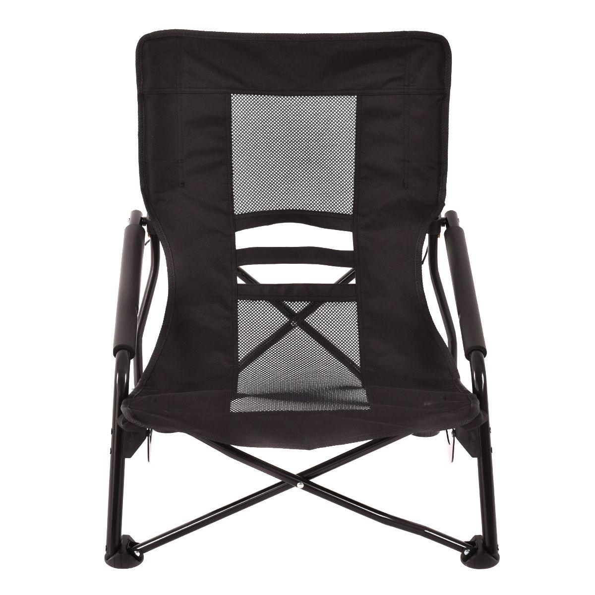Outdoor High Back Folding Beach Chair-Black