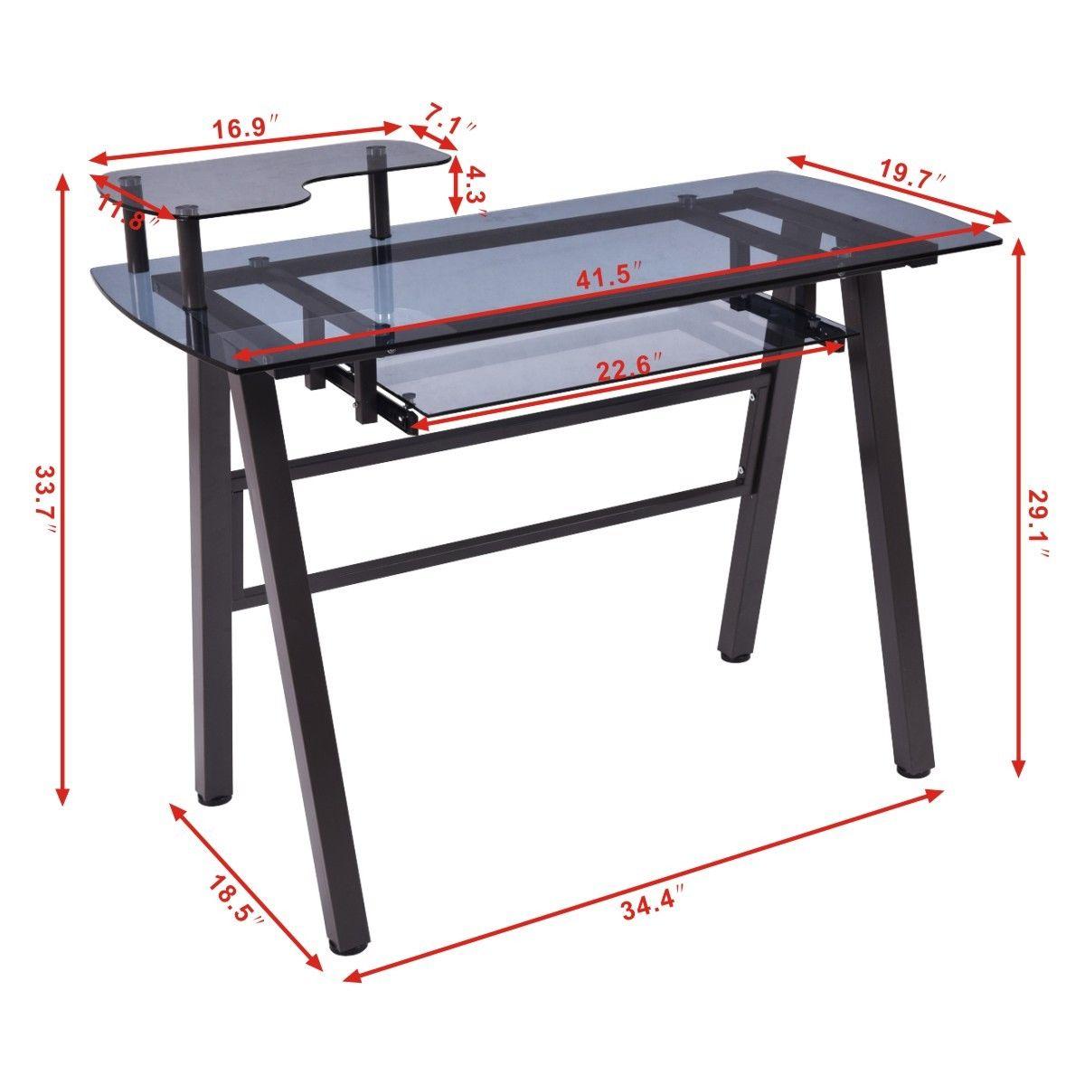 Glass Top Computer Desk with Printer Shelf