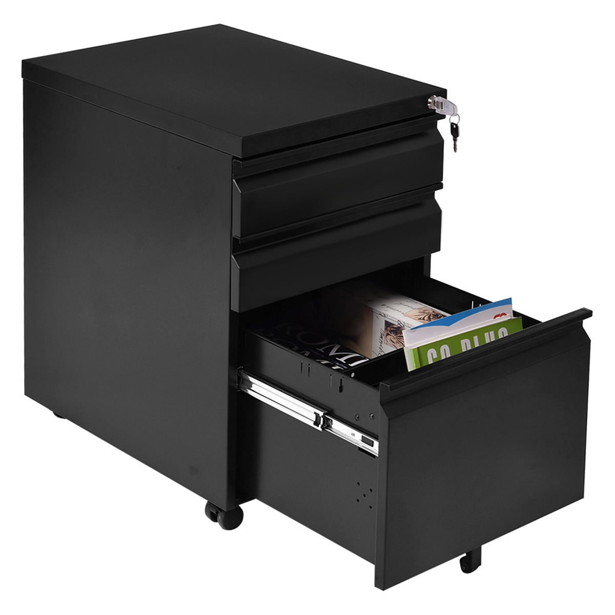 3 Drawers Rolling File Storage Cabinet-Black