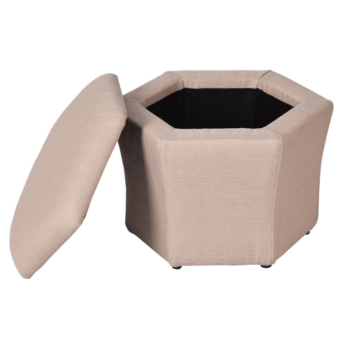 Set of 2 Ottomans Seat Storage Boxes