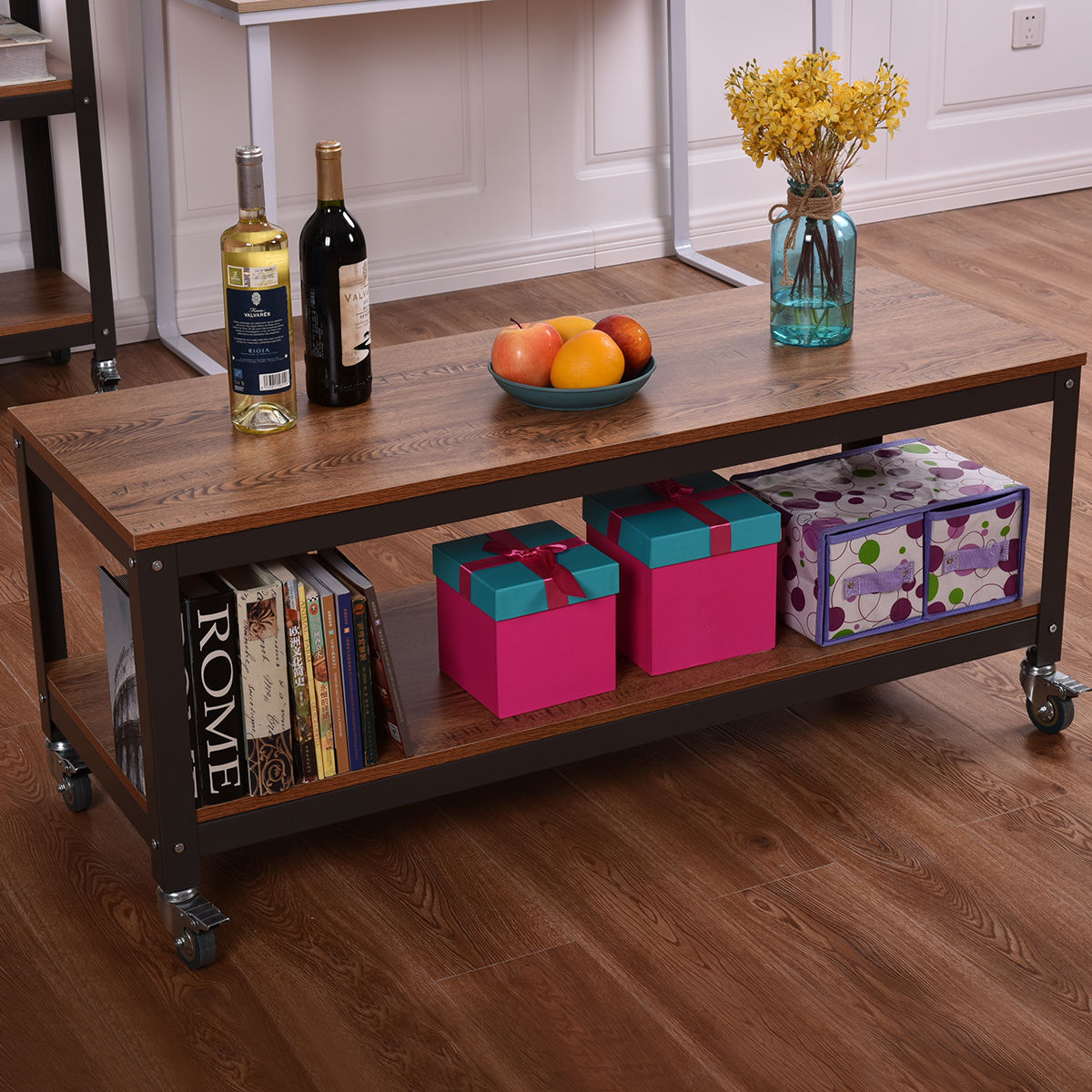 2 Tiers Wood Metal Rolling Coffee Table